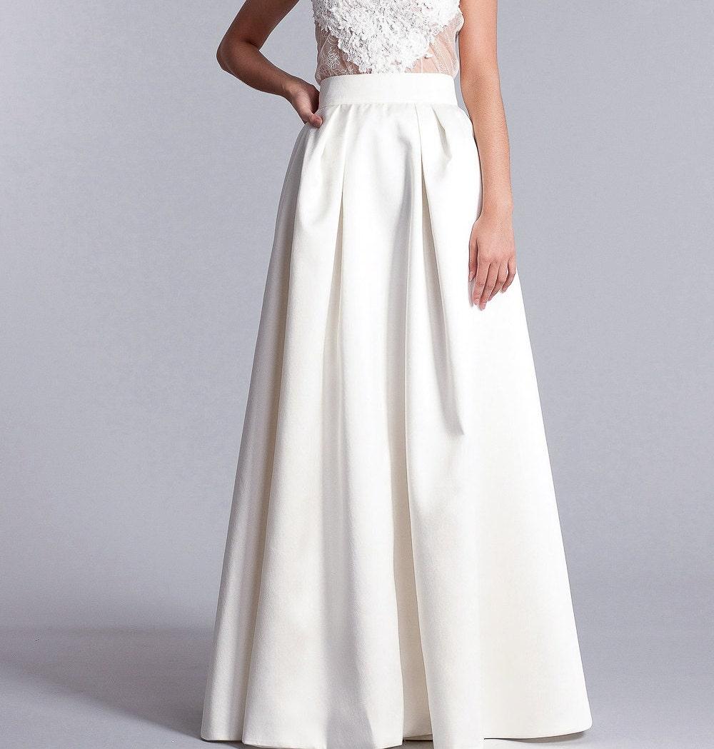 Bridal skirt Long white skirt high waist skirt Bridal