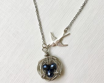 Bird's Nest Necklace - Wire wrapped with 3 black beads eggs - Mama swallow bird - Mother's Mom Jewelry Gift