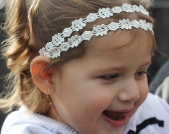 flower girl headband, flower girl accessories, white lace headband, baptism headband, girls flower crown, little flower girl, white lace