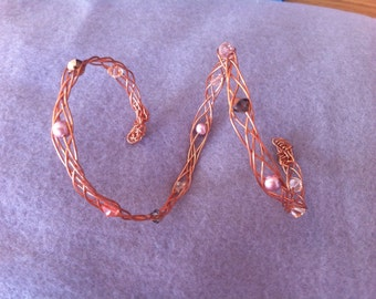 Celtic Braid  Copper  and Swarovki Crystal Armlet