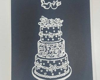Anniversary Card - Embossed Anniversary Cake