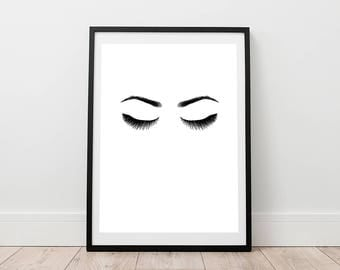 Eyelashes Print - Fashion Wall Art, Digital Print, Long Lashes Print, Vogue Print, Scandinavian Print, Modern Poster, Lash Printable