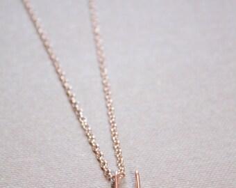 Letter U Necklace Silver Gold Rose Gold Initial Necklace Cursive Letter Necklace, Lowercase Initial Necklace, Personalized Necklace, Di & De