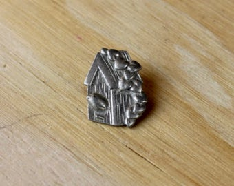LOVEBIRDS PIN: Vintage Silver Pin - Great Gift!