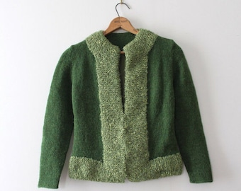 CLEARANCE vintage 1960s sweater // 60s green wool cardigan jacket