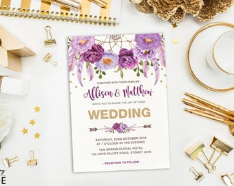 Purple and Gold Wedding Invitation. Purple Floral Wedding Invite. Boho Watercolor Flowers. Bohemian Dreamcatcher. Glitter Confetti. FLO12B