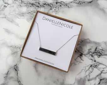 Marble Bar Necklace, Black Marble Pendant, Pendant Necklace, Dainty Necklace, Simple Necklace, Everyday Jewelry, Layering Necklace, Bohemian