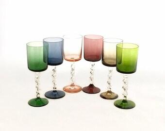 VINTAGE STEMWARE, Set of (6) Multi-Color Pastel Wine Glasses, Twisted Stem, Vintage Barware