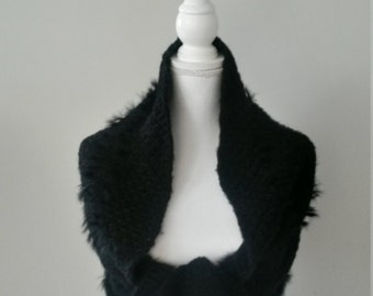 Heating shoulders fake fur woman knitted hand scarf wool, winter clothing