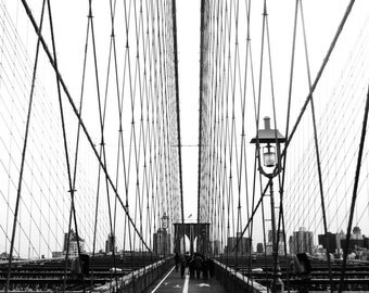 Pedestrian's view of the Brooklyn Bridge, New York City; black and white photograph; wall art; poster