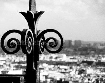 Black and White Paris Photography; Wall art; Montmartre; Spiral; Fleur-de-Lis; France Travel Photography; bedroom; living room; office