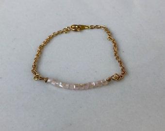 Delicate Beaded Bar Bracelet