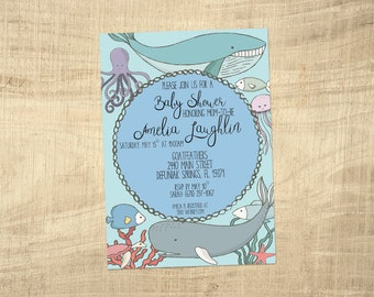 Printable Invitations - Under the Sea Baby Shower Invitations - gender neutral baby shower invitations, whales, fish, coral, octopus