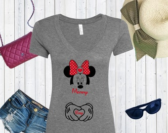 Mommy and Baby Minnie Mouse with Hands Disney Inspired V neck Tshirt / Valentines Day Tshirt / Foodie Tee [E0157,E0129]