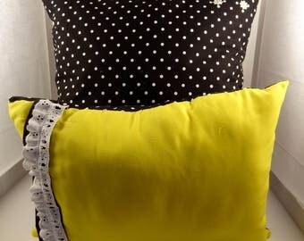 Yellow and Poka-Dot Throw Pillow Set