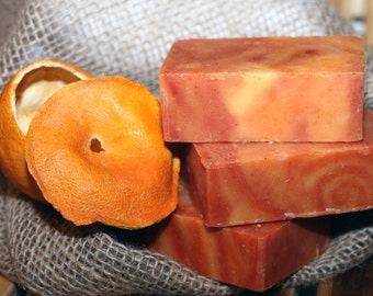 Patchouli Tangerine Sunrise Bar Soap - Cold Process Handmade Soap, Gift for Him, Men's Soap