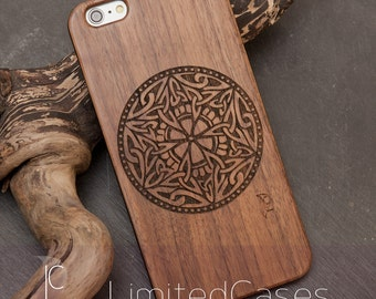 "Case for iPhone 6plus, 6s plus with real Walnut wood covering, engraved ""Accounts ornament"""