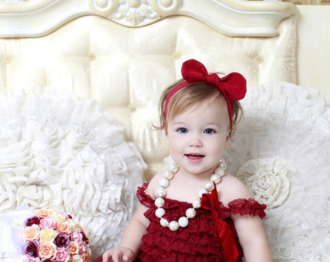 SALE! Baby Girls burgundy petti romper, lace romper, photo prop, cake smash, baby dress, red, wine, lace baby top, burgundy baby top