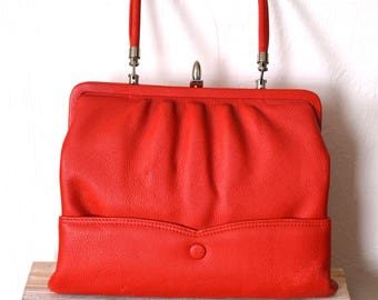 Vintage Red Leather Handbag, Vintage Purse, 50s Handbag, Red Vintage Purse