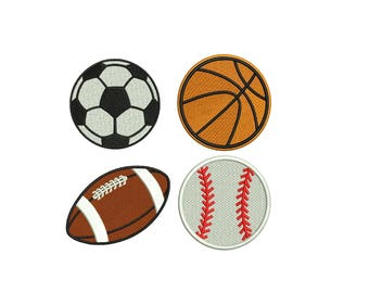 Soccer Embroidery Design, Baseball embroidery design, Football Embroidery design, Basketball Embroidery Design - Ball Embroidery 4 designs