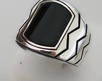 Handmade 925 Sterling Silver Natural Black Agate Stone Men's Ring #M36