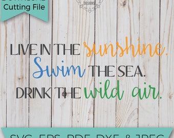 Live in the Sunshine - Summer SVG - Summertime - SVG - SVG File - Svg Cutting Files - Svg Cut Files - Svg Cuts - Heat Transfer Designs