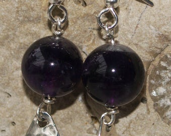 Hand crafted Hammered Sterling Silver Earrings with deep purple Amethyst