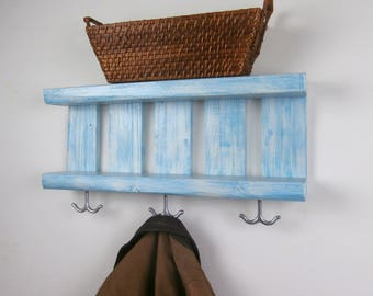 Shelf With Coat Hooks Underneath – Chunky Coastal Coat Rack – Nautical Open Shelves – Beach Entryway Shelf – Coastal Pallet Wood Shelves