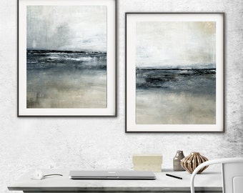 Abstract Print Digital Download Set Of Two Printable Art  Gray Black Modern Contemporary Urban Painting Interior Design Wall Decor Large Art