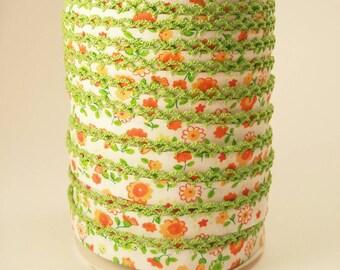 Picot Crochet Lace Edge Double Fold Bias Tape Binding Green Trim Orange Floral