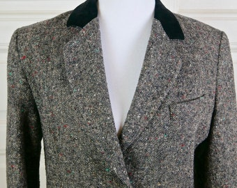 Danish Vintage Tweed Blazer, Brown Wool Tweed w Black Velvet Top Lapel, European Hunting Riding Jacket Style: Size 12 (US), Size 16 (UK)