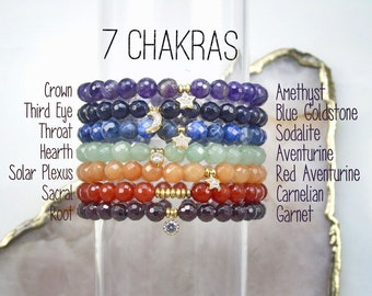 6 mm Chakra Bracelets, Faceted Round Gemstones, Garnet, Carnelian, Red Aventurine, Aventurine, Sodalite, Blue Goldstone, Amethyst