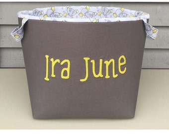 Personalized embroidered fabric storage baskets - customized baby shower gift