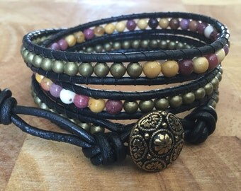 Mookaite and leather wrap bracelet