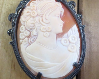 Large Stunning Vintage Cameo Sterling Silver Brooch Pin Marcasite Pearl .925