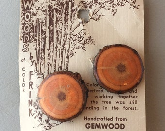 Vintage Hand-crafted Gemwood Earrings on original card Retro Woods of Color by Frink