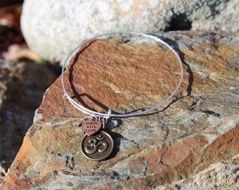 Adjustable Bangle Bracelet with Namaste Charm