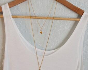 Long Agate Teardrop Necklace