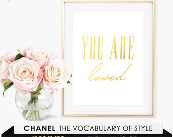 You Are Loved Sign / Gold Foil Print / You Are Loved Print / Minimalist Poster / You Are So Loved Sign / You Are So Loved Print / Wall Decor