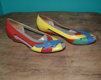 "Womens Vintage Size 8 1/2 Red Yellow Green Blue "" Naturalizer "" Cut Out Wedges Summer Shoe"