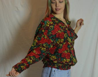 Womens All over Red Floral Button Front Pullover Blouse - Bold Granny Floral Shirt