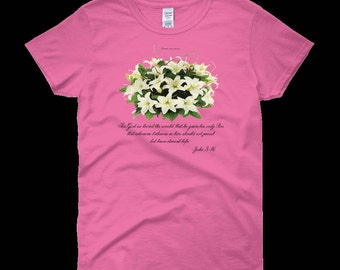 Official - Flowers From Heaven - John 3:16 - Woman's T-shirt