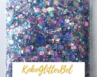 Soft Pink & Blue Striking Silver Super Holographic Glitter Hex Mix Solvent Resistant for Nail Art * GlitterBall * 5 grams or 10 grams