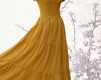 Long Mustard Beach Dress - Summer Smocked Dress / Off the Shoulder Dress / Mustard Dress / Women Tiered Smocked Maxi Dress - SS LD004