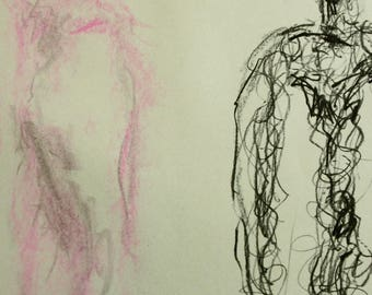 Original drawing from pastel and chalk, according to Giacometti sculptures, on blue paper A2, life drawing, nude body drawing