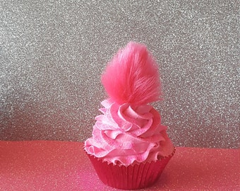 Pink Trolls Hair Fake Cupcake Photo Props and Birthday Party Decorations,  Displays