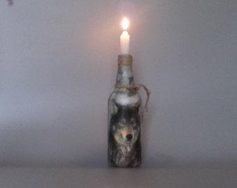 Wolf Bottle Candle Holder