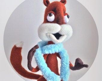 Crazy Squirrel 34cm/13.40in, Amigurumi, Funny Gift, Animal, Red, Crazy Toy, Fantasy Creature, Transformer Toy, Laughing, Russian Amigurumi