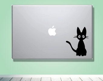 Laptop Macbook VINYL DECAL - Jiji cat - Custom laptop Decal for him her boyfriend girlfriend friend  - Ghibli Vinyl Decal