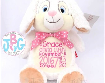 Personalised Bunny Rabbit, Cubbie Teddy Bear, Embroidered Baby Gift, Personalized Cubby Christening Gift, Birth,  Stuffie, Birth Stats